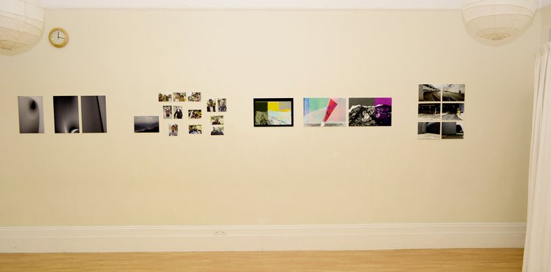 View of various photographs attached on a wall at Evolution Arts space during the Brighton Photo Fringe 2018. Photo by Eva Kalpadaki.