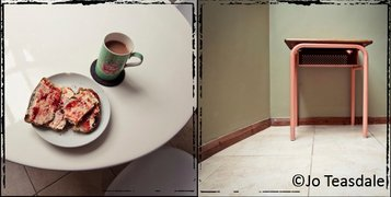 A combination of two photos next to each other by Jo Teasdale, one showing a white table from above with a cup of tea and a plate with slices of bread with jam. The other is showing the legs of a table in a corner from a low angle.